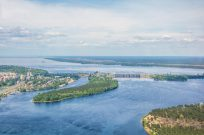Полет на вертолете над Киевским морем и Межигорьем - Фото